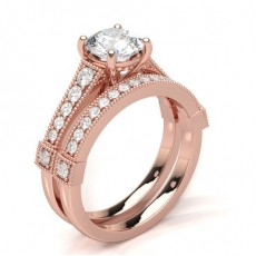 Rose Gold  Bridal Set Engagement Rings