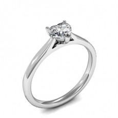 3 Prong Setting Heart Diamond Plain Engagement Ring