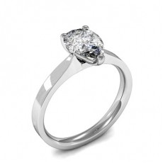 3 Prong Setting Pear Diamond Plain Engagement Ring