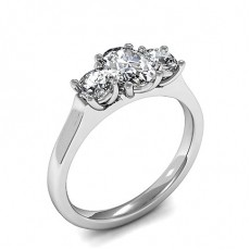 Oval Platinum  Trilogy Diamond Engagement Rings