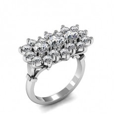 Round Platinum Diamond Cluster Rings