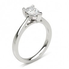 Pear Platinum Classic Solitaire Diamond Engagement Rings