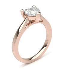 Heart Rose Gold Solitaire Diamond Rings