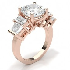 Cushion Rose Gold 5 Stone Diamond Rings