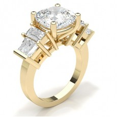 Cushion Yellow Gold Anniversary Diamond Rings