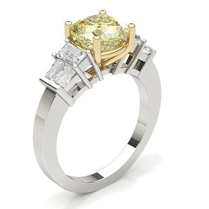 4 Prong Yellow Diamond Engagement Ring