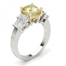 4 Prong Setting Medium Yellow Diamond Ring