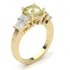 Cushion Yellow Gold Yellow Diamond Rings