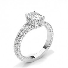 4 Prong Setting Oval Diamond Side Stone Ring