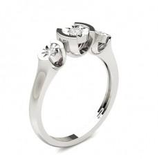 Round Silver 3 Stone Diamond Rings