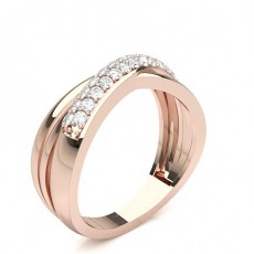 Round Rose Gold Diamond Women's Wedding Bands