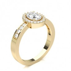 Oval Yellow Gold Halo Engagement Rings