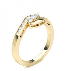 Yellow Gold Trilogy Diamond Engagement Rings