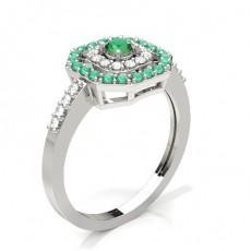 Round Silver Gemstone Diamond Rings
