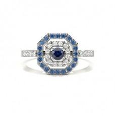 Round White Gold Gemstone Diamond Rings