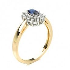 Oval Yellow Gold Gemstone Diamond Rings