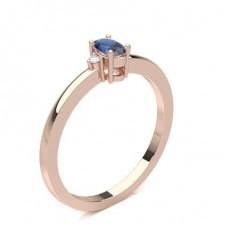 Oval Rose Gold Gemstone Diamond Rings