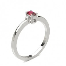 Prong Setting Ruby Side Stone Ring