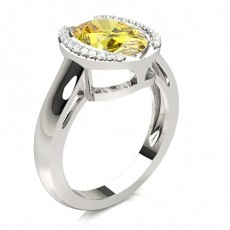 Oval Platinum Yellow Diamond Rings