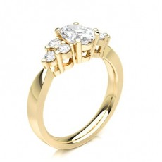 Oval Yellow Gold Anniversary Diamond Rings