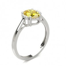 Oval White Gold Yellow Diamond Rings
