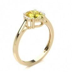 Oval Yellow Gold Promise Diamond Rings