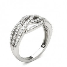 Round Silver Diamond Rings