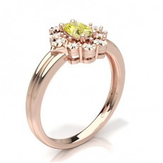 Oval Rose Gold Yellow Diamond Rings