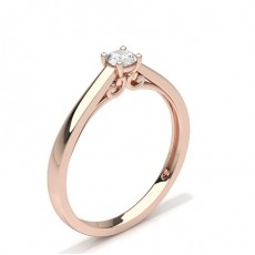 Round Rose Gold Solitaire Diamond Engagement Rings