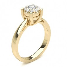 Round Yellow Gold Cluster Diamond Rings