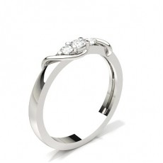 Round White Gold 3 Stone Diamond Rings