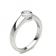 Round Silver Classic Solitaire Engagement Rings