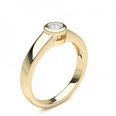 Round Yellow Gold Solitaire Diamond Engagement Rings