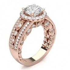 Round Rose Gold Halo Diamond Engagement Rings