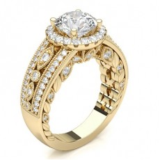 Round Yellow Gold Halo Diamond Engagement Rings