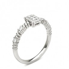 Round Platinum Cluster Diamond Rings