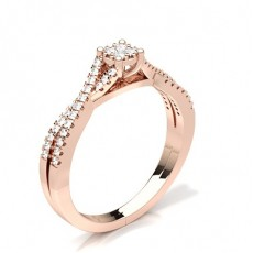 Rond Or Rose Illusion Bagues Diamant