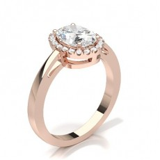 Oval Rose Gold Halo Engagement Rings