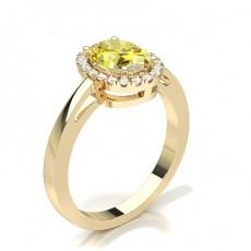 Oval Gelbgold Haloringe Verlobungsringe