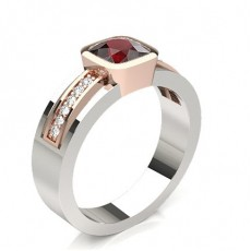 Cushion Rose Gold Gemstone Diamond Rings