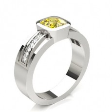 Cushion Silver Yellow Diamond Rings