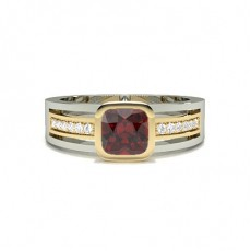 Cushion Yellow Gold Gemstone Engagement Rings