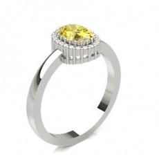 Oval Platinum Yellow Diamond Engagement Engagement Rings
