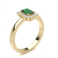 Emerald Yellow Gold Gemstone Diamond Rings