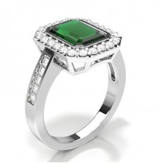 Emerald Silver Gemstone Diamond Rings