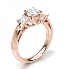 Rund Rotgold 3-Diamanten Diamantringe