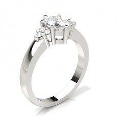 Cushion Silver Side Stone Diamond Rings