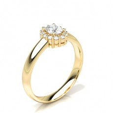 Oval Yellow Gold Halo Diamond Engagement Rings