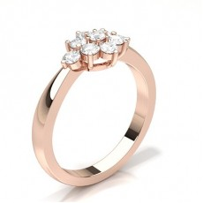 Round Rose Gold Cluster Diamond Rings