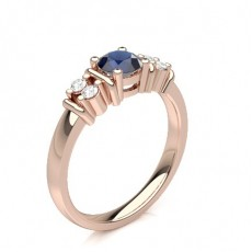 Round Rose Gold Gemstone Diamond Rings